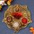CraftamWhite Metal Gold Plated Pooja Thali Set (9X9X2 Inch, Gold)