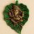 Craftam Metal Lord Ganesha on Leaf Decorative Wall Hanging Showpiece Figurine (Green)